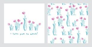 套卡片和与手拉的桃红色花的简单的花卉无缝的样式 库存照片