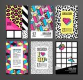 套卡片和横幅在80s-90s孟菲斯样式 免版税库存图片