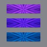 套卡片或横幅与蓝色和紫罗兰色镶边纹理 免版税库存图片