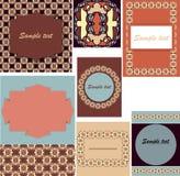 套卡片的模板,婚礼,与orn的生日邀请 向量例证