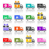 套卡车色的图标 免版税库存图片