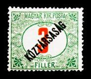 套印Koztarsasag,红色暗号,邮费交付serie,大约1919年 库存照片