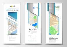 套卷起横幅立场,几何样式,现代企业概念,公司垂直的飞行物,旗子布局 城市 图库摄影