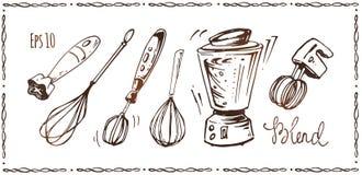 套厨房器具 手拉的剪影 库存例证