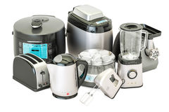 套厨房家电 多士炉,水壶,搅拌器,搅拌器, 库存例证