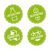 套变态反应原释放徽章 乳糖释放,自由的面筋,任意加糖, 100%素食主义者 传染媒介手拉的标志 库存图片