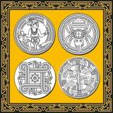 套古老美洲印第安人模式 免版税库存图片