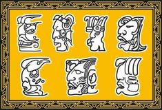 套古老美洲印第安人面部模式。 免版税图库摄影