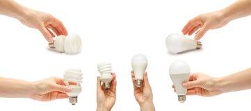 套另外低能源电灯泡用手 背景查出的白色 免版税库存图片