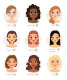 套另外妇女的面孔键入形状女性顶头传染媒介字符例证 免版税库存照片