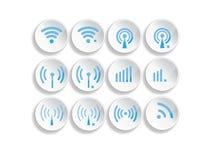 套另外无线3d按钮和wifi象 免版税库存照片