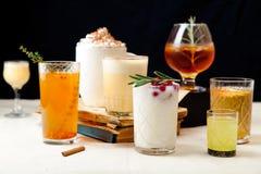 套各种各样的冬天鸡尾酒 免版税库存照片