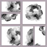 套各种各样的名片,切面图-抽象黑白水彩手画背景,刷子` s纹理 库存图片