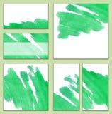 套各种各样的名片,切面图-明亮的phthalo绿色水彩手画背景,刷子` s纹理 免版税图库摄影