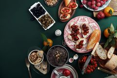 套各种各样的异常的开胃菜 库存照片