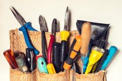 套各种各样的杂物工工具 库存图片