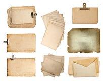 套各种各样的老纸板料 库存图片