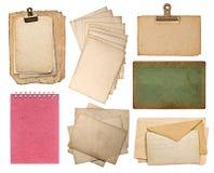 套各种各样的老纸板料 免版税图库摄影