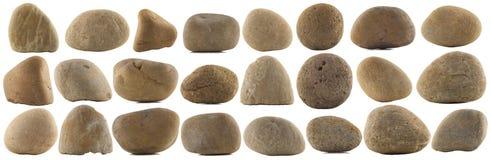 套各种各样的自然小卵石石头 免版税库存图片