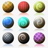 套各种各样的被隔绝的颜色光滑的球形  免版税库存图片