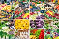 套各种各样的水果和蔬菜 免版税图库摄影