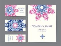 套名片、邀请和卡片模板与紫胶 免版税库存图片