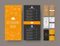 套咖啡咖啡馆或餐馆的狭窄菜单 库存例证