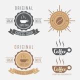 套咖啡横幅商标 皇族释放例证
