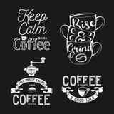 套咖啡相关印刷术 关于咖啡的行情 葡萄酒传染媒介例证 库存照片