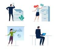 套商人或办公室工作者,男人和妇女,以各种各样的字符和活动,简单设计 复制 免版税库存图片