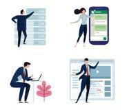 套商人或办公室工作者,男人和妇女,以各种各样的字符和活动,简单设计 大聪明 免版税库存照片