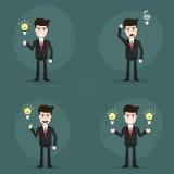 套商人有电灯泡光想法 库存例证