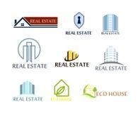 套商标房地产, eco房子 在传染媒介的商标在白色 免版税库存照片