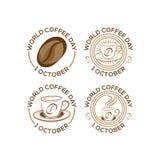 套商标10月1日国际咖啡天 世界咖啡天商标象在白色背景的传染媒介例证 向量例证