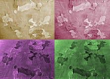 套四不同的颜色背景  作用被绘的纸 免版税图库摄影