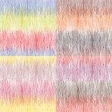 套四与五颜六色的水平的难看的东西条纹的无缝的样式 免版税库存照片