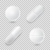 套四个不同传染媒介现实白色药片 免版税库存照片