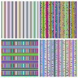 套四个五颜六色的抽象镶边无缝的样式 免版税库存图片