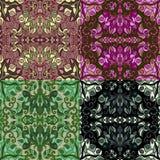 套四个五颜六色的无缝的样式 库存图片