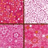 套四个五颜六色的花卉样式。 免版税库存图片