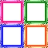 套四个五颜六色的装饰清楚的照片框架 免版税库存图片