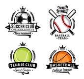 套四个体育学科的体育队商标 免版税库存照片