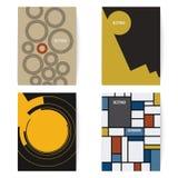 套四个减速火箭的小册子在葡萄酒样式打印模板 数字式例证 图库摄影