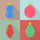 套四个圣诞节中看不中用的物品 免版税库存图片