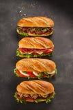 套四个完全三明治 库存图片