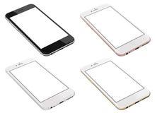 套四个智能手机金子,上升了,银和黑色 免版税库存照片