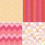 套四个纺织品argyle无缝的样式 免版税库存照片