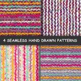 套四五颜六色的无缝的手拉的图表条纹图形 库存照片