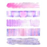 套四五颜六色的水彩冲程背景 免版税图库摄影