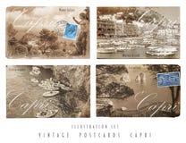 葡萄酒明信片设置了Capri 免版税库存照片